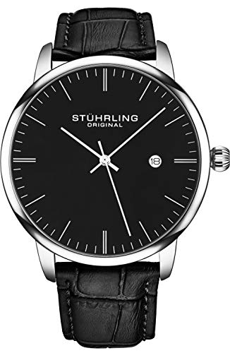 Date Swiss Automatic Watch - Stuhrling Original Mens Watch Calfskin Leather Strap - Dress + Casual Design - Analog Watch Dial with Date, 3997Z Watches for Men Collection (Black Silver)
