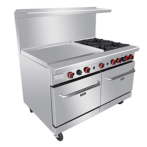 Heavy Duty 60''Gas 4 Burner Range With 36'' Griddle and 2 Standard Ovens - Kitma Natural Gas Cooking Performance Group for Kitchen Restaurant, 229,000 BTU