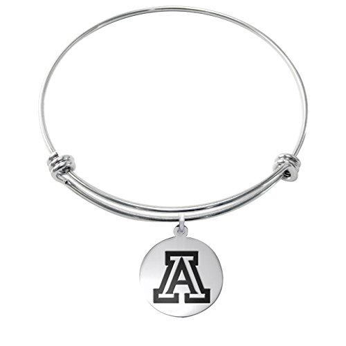 Arizona Wildcats Stainless Steel Adjustable Bangle Bracelet with 17mm Round Charm ()