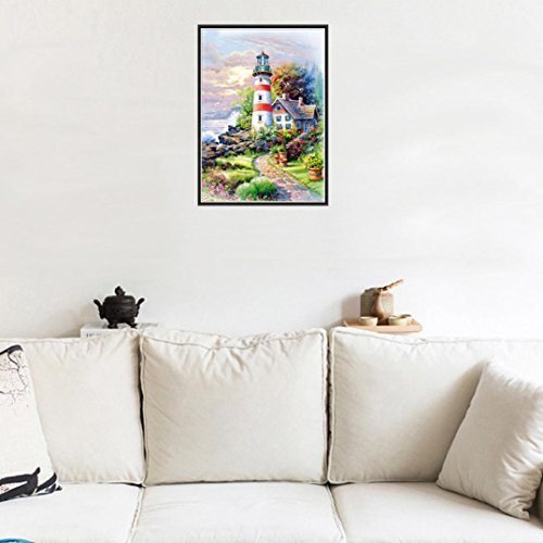 5D Diamond Painting, Staron Lighthouse Diamond Embroidery Painting DIY Cross Stitch Kit 5D Diamond Painting Crystals Embroidery Home Decor (D)