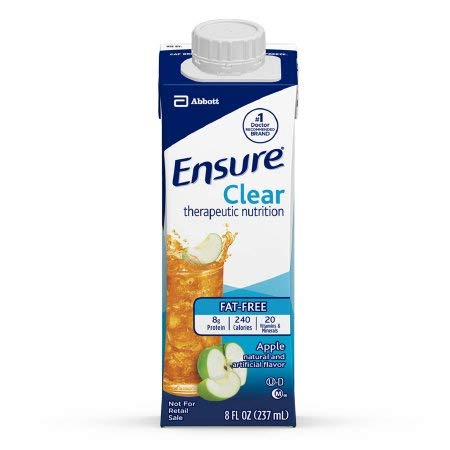 Ensure Clear Apple, 8 oz Recloseable Carton, Abbott 64903 - Case of 24