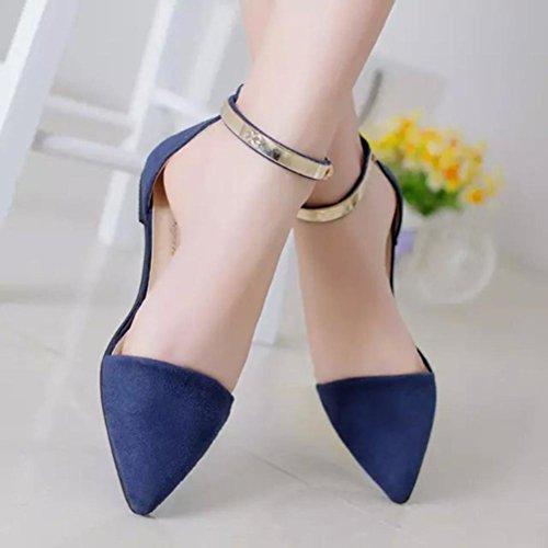 37 solid piel aire dedos sola mujeres sandalias cubierta al taottao hebilla Flip sintética zapato azul libre antideslizante de Flop Azul talón zapatos punta 5q1W4