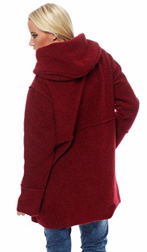 Moda Italy - Abrigo - para mujer granate