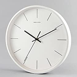 Nordic simple clock,[modern] Household use Silent wall clocks Living room Bedroom Fashion wall charts Round quartz clock Metal-White 12inch