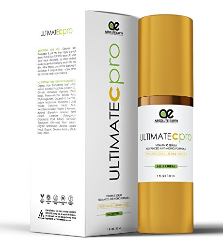 Vitiman C Serum - FOR PROFESSIONAL USE - Advanced Skincare Formula - Ferulic Acid Anti-Wrinkle Anti-Aging Vitamin C Serum with Hyaluronic Acid + Vitamin E by Absolute Earth, 1 fl. oz