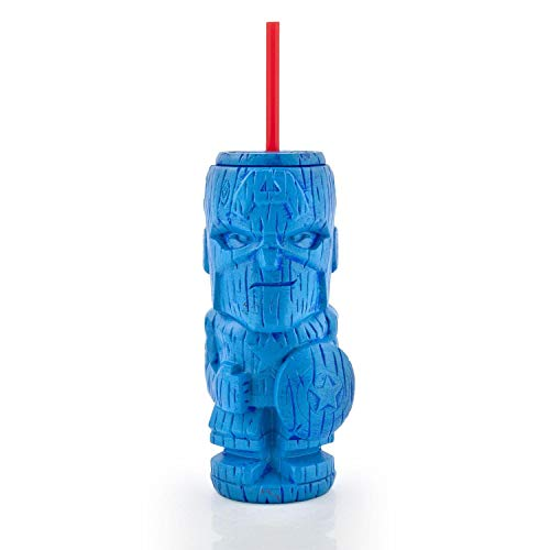 (Geeki Tikis Marvel Captain America Tumbler | Official Marvel Collectible Plastic Tiki Style Cup | Holds 19 Ounces)