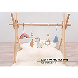 Rainbow Unicorn Baby Play Gym with 5 Mobiles: Unicorn, Rainbow, Mountain, Feather, Beaded Ring. Handmade by LanaCrocheting. Wooden Baby Gym. Crochet Rattles. Infant Activity Center. Baby Shower Gift