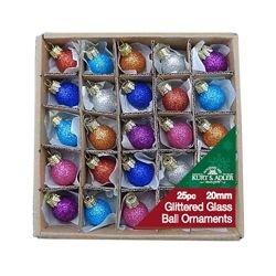 Ornaments Decorated Ball Glass - Kurt Adler .78 Glitter Glass Ball Ornaments - 25 Pieces #C1962 by Kurt Adler
