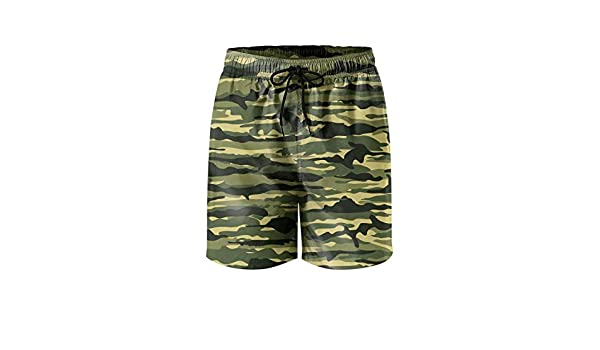 ZYLIN Mens Swim Trunks Printed Military Camo Camouflage Beach Board Short Popular with Pockets