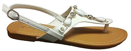 Cmfncy Elegante Damesmode Gladiator String Flat Decorated Sandalen Wit