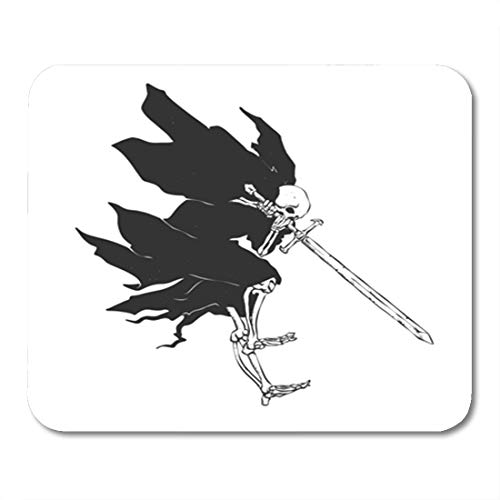 Semtomn Gaming Mouse Pad Grim Reaper Attack Medieval Ghost Gothic Skull Night Demon Black 9.5