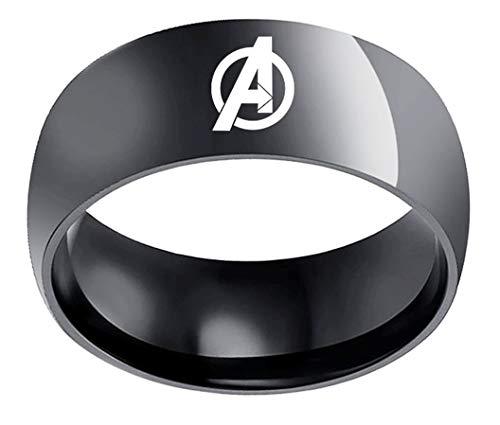 Mainstreet247 Avengers A Logo Black Stainless Steel Band Ring (10)]()