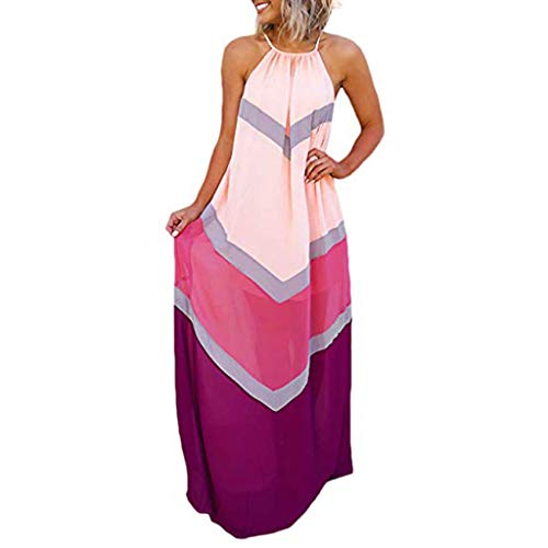 kemilove Women's Chiffon Halter Striped Color Patchwork Pleated Back Hollow Out Maxi Long Dresses ()