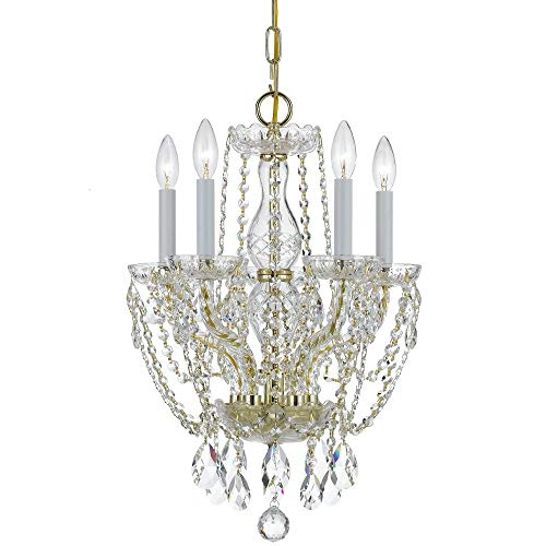 - Bohemian 5 Light Candle Chandelier Finish: Polished Brass, Crystal Type: Swarovski Spectra