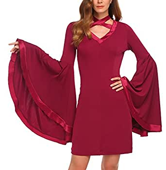 Meaneor Women's Flare Bell Sleeve Slim Party Holiday Bodycon Dress,Wine Red,S