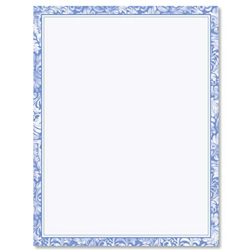 (Blue Alluring Border Letter Papers - Set of 25 spring stationery papers are 8 1/2