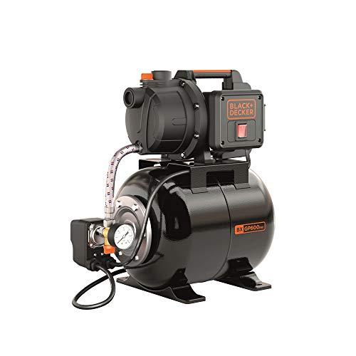 BLACK+DECKER BXGP600PBE Selbstansaugende Pumpe mit Behälter für Klarwasser (600 W, max. Förderleistung 3100 l/h, max. Förderhöhe 35 m)