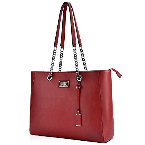 Laptop Bag for Women,15.6 in Spacious Laptop Tote with Sturdy Lengthen Chain-Link Straps