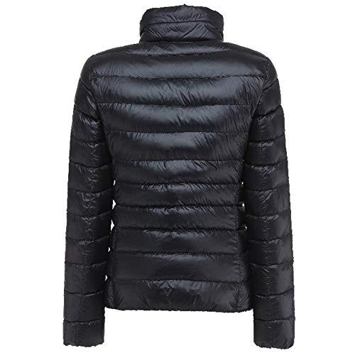 Yiqi Plumas Parka Ligero Plumón Mujer de Cremallera para Abrigo Chaqueta Negro de 0OOqxgwS1