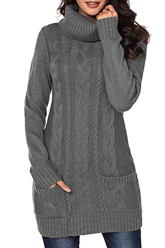 Cutiefox Womens Chunky Cable Knit Jumper Cowl Neck Long Sleeve Sweaters Dress XL Gray