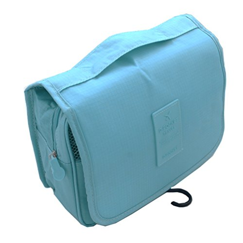 TooPhoto Grid Hang Jewelry Cosmetic Makeup Toilet Bathroom Organizer Bag Case Blue
