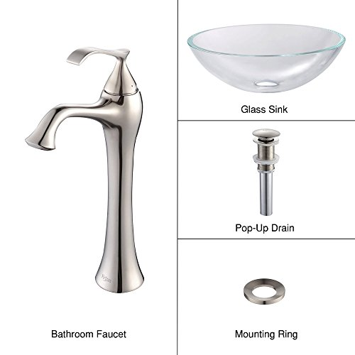 Crystal Glass Lavatory Sink (Kraus C-GV-100-12mm-15000BN Crystal Clear Glass Vessel Sink and Ventus Faucet Brushed Nickel)