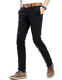 dc3ada5a7ea4a INFLATION De los Hombres Frente Plano Slim Tapered Pantalones elásticos  Casual Pantalones de 100% algodón Vestido Pantalones para los…