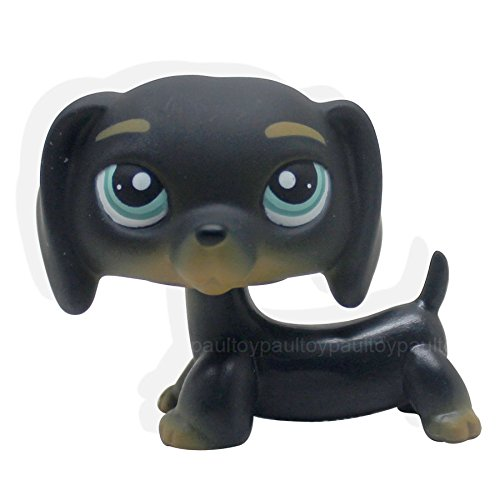 Black Original Dog Figurine (LHJ #325 Littlest Pet Shop Black Dachshund Dog Chien Teckel Puppy Blue Eyes LPS Rare)