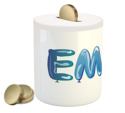 Ambesonne Emma Coin Box Bank, Feminine Girl Name Design with Ornate Balloons Mainstream Female Themed Illustration, Printed Ceramic Coin Bank Money Box for Cash Saving, - Piggy Bank Emma