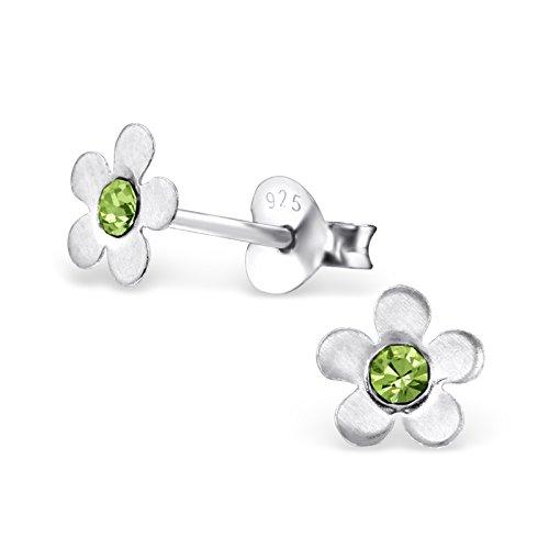 Butterfly Peridot Earrings - 925 Sterling Silver Hypoallergenic Peridot Green Crystal Flower Stud Earrings for Girls 3847