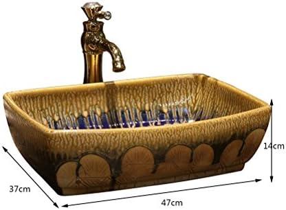 流れる木材アートの上カウンター盆地矩形のセラミックレトロな洗面台、欧州ステージ洗面(47x37x14cm) P3/17