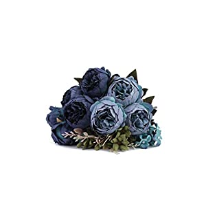 Silk Flower Arrangements Kimura's Cabin Artificial Peony Silk Flowers Fake Peonies Bouquets for Home Table Centerpieces Wedding Party Decoration (Deep Lake Blue)