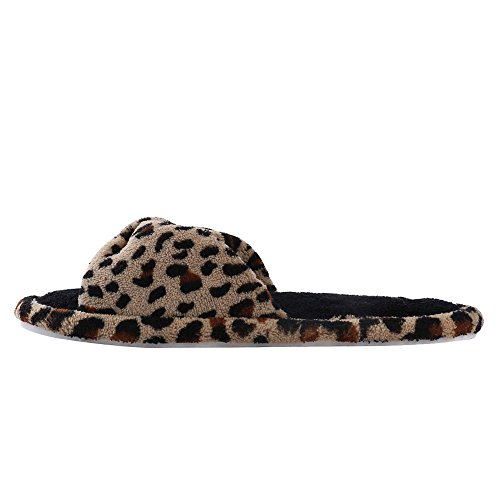 Aerusi Mujeres Cosy Slide Leopard Design Slipper Leopard Brown
