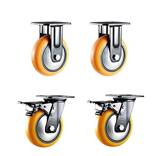 144 Mm To Inches (AAAAAJL Caster,Fixed Caster & Brake Lock Swivel Castor Wheels Combination,Heavy Duty Furniture Casters, 4 Inches/5 Inches / 6 Inches / 8 Inches Load 400Kg, 4 Pieces/Orange /)
