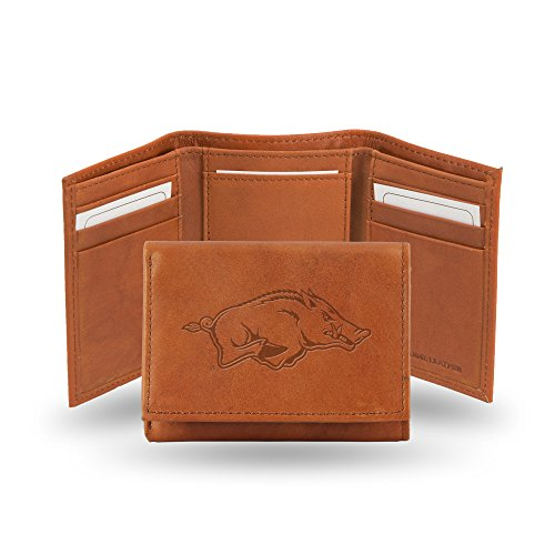 Rico Industries NCAA Arkansas Razorbacks Embossed Leather Trifold Wallet, Tan ()