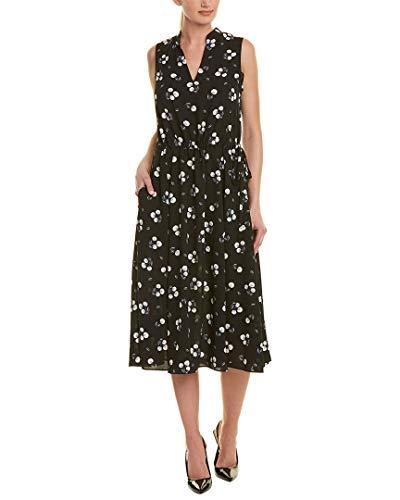 Anne Klein Women's Tussy Mussy Printed CDC Drawstring Midi Dress Anne Black/Anne White Combo XXS (Women's 00-0)