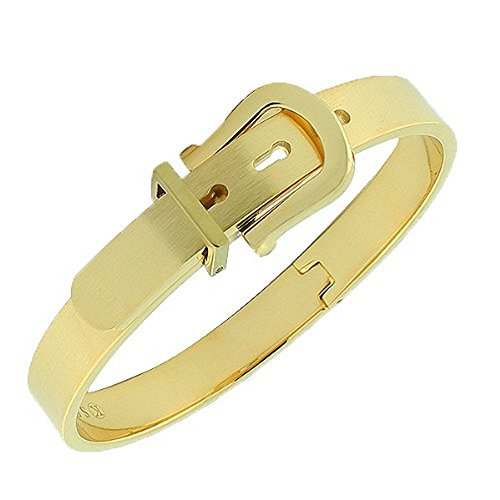 My Daily Styles Stainless Steel Yellow Gold-Tone Belt Buckle Bangle Bracelet