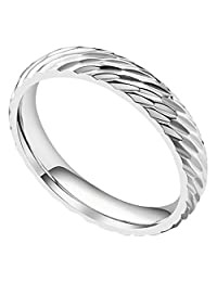 WWOOR Gap Gully Ravine Men's and Women's Ring Elegant Ladies Titanium Lovers Ring Width 4mm