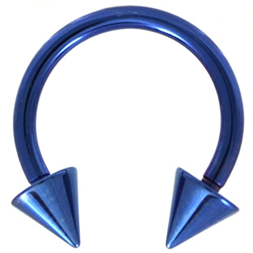 "14G(1.6mm) Blue Titanium IP Steel Circular Barbells Horseshoe Rings w/Spike Ends (Sold in Pairs) (14 Gauge 1/2"")"