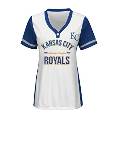 VF LSG MLB Kansas City Royals Women's Team Name Rugged Competitor Pull Over Color Block Jersey, Large, White/Deep Royal