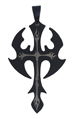 Full Funk Gothic Battle Axe Goth Cross Stainless Steel and Resin Pendant / Charm