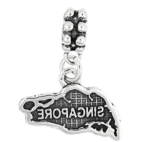 Sterling Silver Dangle Map of Singapore Bead Charm Vintage Crafting Pendant Jewelry Making Supplies - DIY for Necklace Bracelet Accessories by CharmingSS for $<!--$45.99-->