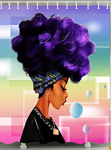 Mokde Mondge 72 x 72 inch Bathroom Shower Curtains Traditional African Women with Purple Hair Afro Hairstyle Pattern Shower Curtain, Durable Waterproof Bathroom Curtain Bath Curtain with Hooks - For Girls Purple Shower Curtain