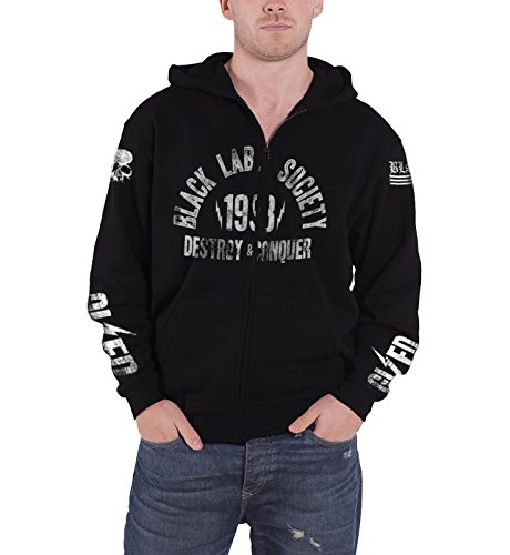 Black Label Society Hoodie Sdmf Band Logo Official Mens Black Zipped