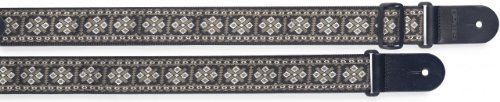 Decorated Cross - Stagg 20968 82-141 cm Woven Nylon Cross Decorated Guitar Strap - White