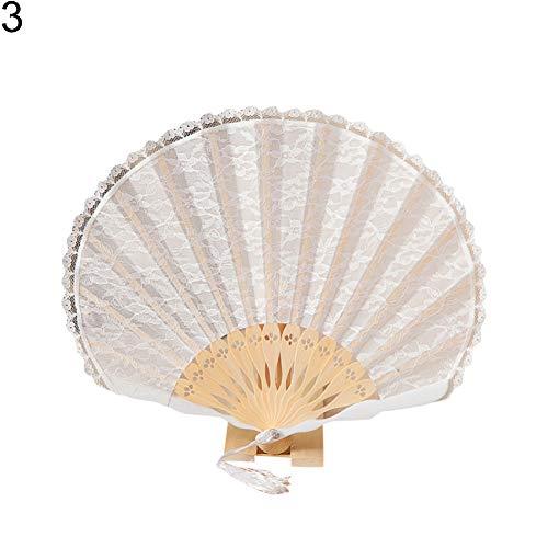 WsloftyGYd - Ventilador de encaje plegable de bambú para verano, doble capa, ideal para regalo, 3#, 1