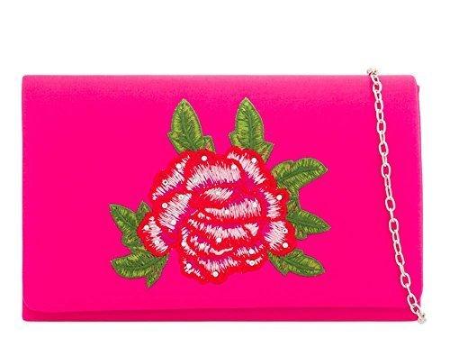 's Fuchsia main détail haute Small décoration mariage femmes fête Diamant neuf floral satin Argent pochette DIVA Sac pour à xH6X6UE