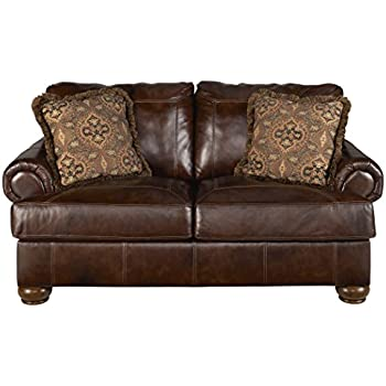 Attrayant Ashley Furniture Signature Design   Axiom Casual Leather Rolled Arm Loveseat    Walnut Brown