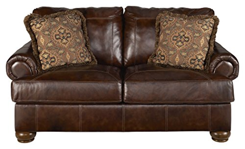 Ashley Furniture Signature Design - Axiom Casual Leather Rolled Arm Loveseat - Walnut Brown