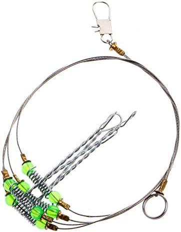 5pcs Anti-Winding 6 Swivel String Fishing Hook Steel Rigs Wire Leader Hooks #K